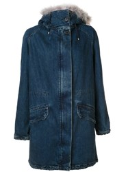 Army Yves Salomon Collar Detail Coat Blue