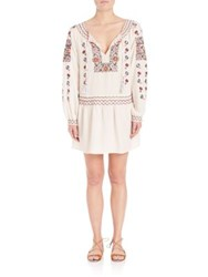 Calypso St. Barth Cantoral Embroidered Silk Drop Waist Dress Candle White