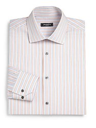 Saks Fifth Avenue Classic Fit Thin Striped Dress Shirt Blue