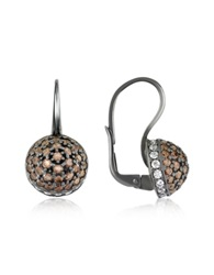 Azhar Cubic Zirconia And Sterling Silver Round Earrings Brown