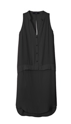 Tibi Crepe Sleeveless Shirt Dress