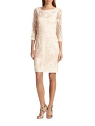 Sue Wong Soutache Embroidered Illusion Dress Blush
