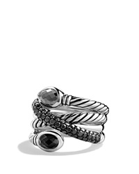 David Yurman Renaissance Crossover Ring With Hematine Black Onyx And Black Diamonds Silver Black