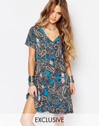 Reclaimed Vintage V Neck Dress In Paisley Print Blue