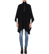 Sandro Turtleneck Knitted Poncho Navy Blue