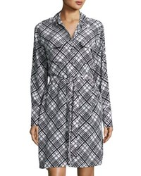 Equipment Delany Plaid Long Sleeve Shirtdress Black White