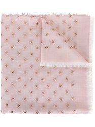 Valentino Star Embroidered Scarf Pink And Purple