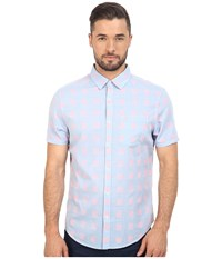 Original Penguin Short Sleeve Chambray Neon Dobby Heritage Deep Water Men's Short Sleeve Button Up Blue