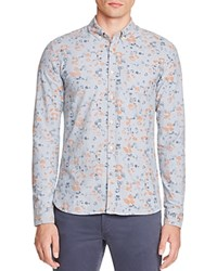 Scotch And Soda Faded Floral Slim Fit Button Down Shirt Light Blue