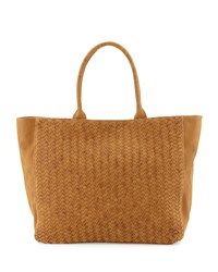Neiman Marcus Woven Faux Leather Tote Bag Cognac Red