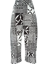 Junya Watanabe Comme Des Gara Ons Tribal Print Cropped Trousers Black