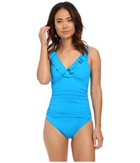 Lauren Ralph Lauren Laguna Solids Ruffle Surplice Under Wire Tank Slimming Fit W Removable Cup Turquoise Women's Swimsuits One Piece Blue