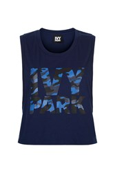 Ivy Park Camo Logo Cropped Tank Top By Navy Blue