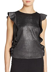Saks Fifth Avenue Red Metallic Flounce Blouse Black Silver