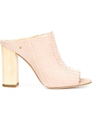 Vince Camuto Snakeskin Mules Pink And Purple
