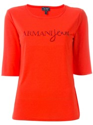 Armani Jeans Strass Embellished Logo T Shirt Red