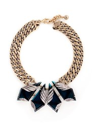 Lulu Frost 'Reflection' Pave Montana Glass Crystal Chain Necklace Blue Metallic