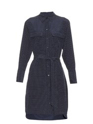 Equipment Delaney Micro Dot Print Silk Shirtdress Navy Multi