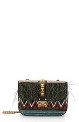 Valentino 'Small Lock' Feather And Bead Embellished Woven Shoulder Bag