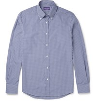 Ralph Lauren Purple Label Cameron Slim Fit Button Down Collar Gingham Cotton Shirt Navy