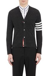 Thom Browne Men's Block Striped Cashmere Cardigan Black