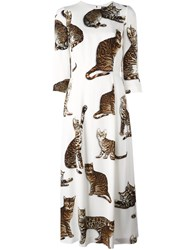 Dolce And Gabbana Cat Print Dress White