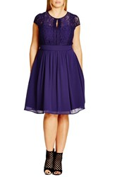 Plus Size Women's City Chic 'Romantic Rosa' Fit And Flare Dress