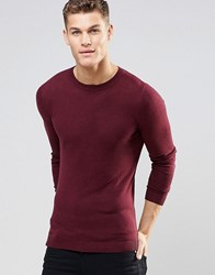 Asos Muscle Fit Crew Neck Jumper In Burgundy Cotton Burgundy Red