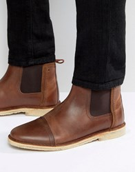 Asos Chelsea Boots In Brown Leather Brown