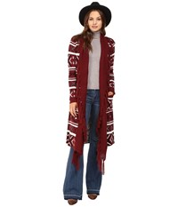 Bb Dakota Maribeth Intarsia Maxi Cardigan W Fringe Burnt Red Women's Sweater