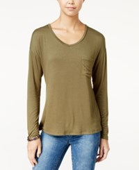 Rebellious One Juniors' V Neck High Low Pocket Tee Olive Fatigue
