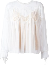 Chloe Medallion Insert Blouse Nude And Neutrals