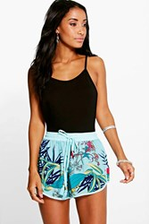 Boohoo Tropical Print Woven Runner Shorts Turquoise