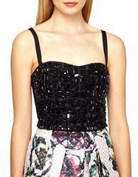 Phoebe Couture Beaded Bodice Top Black