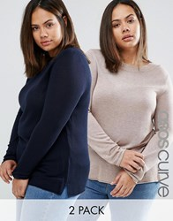 Asos Curve Crew Neck Jumper 2 Pack Oatmeal Navy Multi