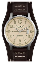 Filson 'The Mackinaw Field' Leather Strap Watch 43Mm Brown Cream Silver