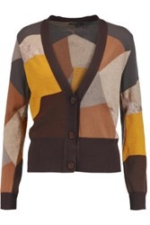Etro Color Block Wool Blend Cardigan Brown