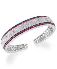 Macy's Ruby 1 3 4 Ct. T.W. And Diamond 1 10 C.T. T.W. Antique Cuff Bracelet In Sterling Silver