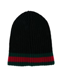 Gucci Web Ribbed Knit Hat Black Green Red Denim