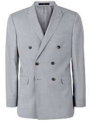Jaeger Wool Puppytooth Modern Double Breasted Suit Jacket Pale Steel