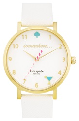 Kate Spade 'Metro Somewhere' Leather Strap Watch 34Mm White