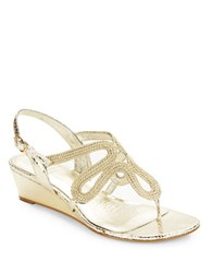 Adrianna Papell Carli Textured Leather Sandal Wedges Gold