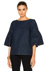 Suno Shirred Sleeve Top In Blue
