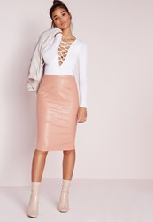 Missguided Faux Leather Seam Detail Midi Skirt Nude Beige