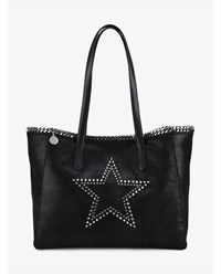 Stella Mccartney East West Star Faux Leather Tote Black Silver