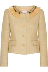 Moschino Cheap And Chic Embellished Woven Cotton Blend Jacket Nude