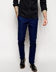 Sisley Check Trousers In Slim Fit Bluecheck