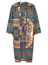 Mela Loves London Aztec Print Long Kimono Jacket Multi Coloured