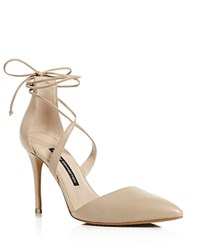 French Connection Elise Lace Up Ankle Strap Pumps Almost Nude