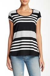 Olivia Moon Scoop Neck Cap Sleeve Tee Black